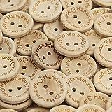 50 Stück große, naturbelassene Holzknöpfe mit Handmade-Schriftzug als Gravur - Durchmesser ca. 25 mm rund - Natur-Holzknöpfe zum Annähen für Handarbeiten oder Bastelarbeiten
