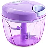 Smile Mom Vegetable Chopper, Cutter for Kitchen, 3 Stainless Steel Blade, Violet (650 ML)