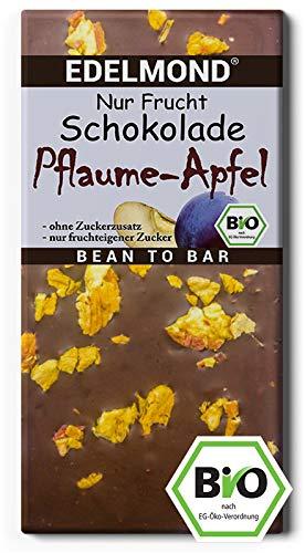 Bio Nur Frucht Pflaume und Apfel Edelmond Schokolade - Ohne zugesetzten Zucker (1 Tafel) - Apfel-pflaume