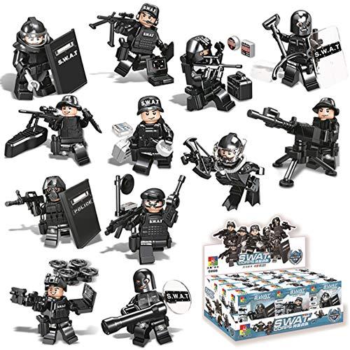 BOROK 12Stück Mini Figuren Set Polizei SWAT Team Minifiguren Bausteine Spielzeug Adventskalender Inhalt für Kinder