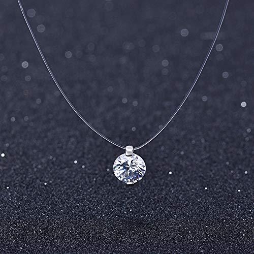 XKJT 925 Silber Stereo Transparente Angelschnur Stealth Halskette Schneeball Crystal from Locks Chain Valentine Geschenk