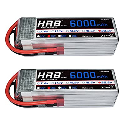HRB 6S 22.2V 6000mAh 50C LiPo Battery With Deans T Plug for RC Quadcopter Airplane DJI Drone A-SPEC 5.5MM HELI PLANE RC Quadcopter Helicopter Car Truck Boat Hobby (2packs) by Yowoo