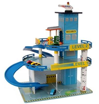 großes Parkhaus Garage Autogarage aus Holz mit Tankstelle Aufzug von Mentari Toys