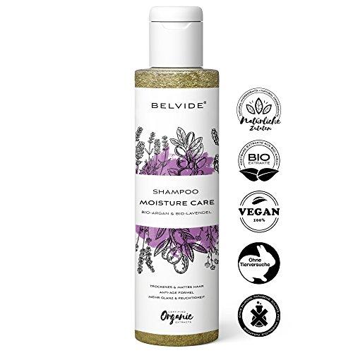 BELVIDE Natur Shampoo gegen trockene Haare mit Bio Arganöl und Bio Lavendel ohne Silikon · 100% tierversuchsfrei und vegan · 200 ml
