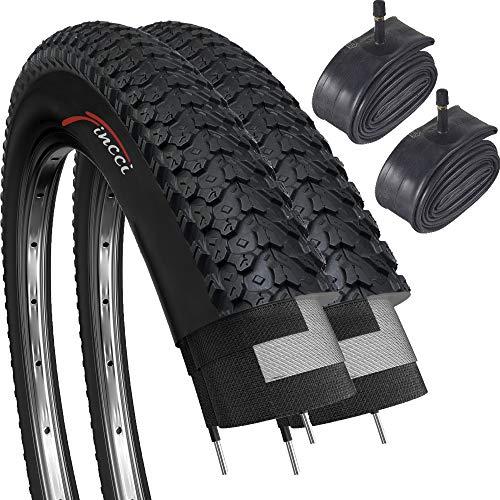 Fincci Set Paar 26 x 2,125 Zoll 57-559 Faltbar Reifen mit Autoventil Schläuche für MTB Mountain Hybrid Fahrrad (2er Pack)
