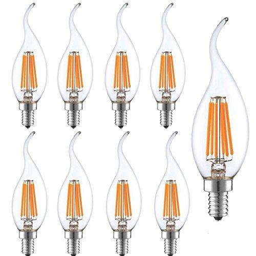 9 Pack 6W LED Vintage Filament Kerze Leuchtmittel DIMMBAR,KINGCOO Antik Edison C35 Form flamme Bent Rat,E14 LED Kandelaber Grundlage,2700 K Warmweiß 600lm,60 W Ersatz -