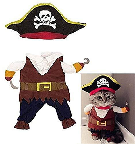 Vektenxi Haustier Hund Katze Pirat Seemann Halloween Weihnachten Kostüm Outfit Kleidung - M Hohe Qualität (Seemann Pirat Kostüm)