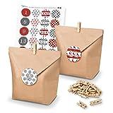 itenga DIY matches21?Calendario dell 'Avvento Kit fai da te e Riempire di sacchetti carta Pinze Adesivo numero rosso verde???Con No?L adesivi