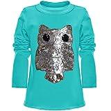 BEZLIT Mädchen Wende-Pailletten Long Shirt Bluse Pullover Langarm Sweat Shirt 21005, Farbe:Türkis;Größe:128