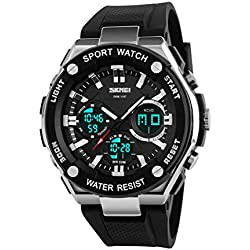 Groupstars SKMEI 50M Waterproof Analogue Digital LCD Multifunctional Mens outdoor Sports Watch Black