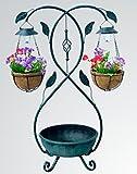 Garden Pleasure Pflanzständer mit Solar Beleuchtung und 2 Blumenampeln