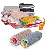 HomeIdeas 8 paquetes Bolsas de almacenamiento comprimido portátil perfecto para el hogar y viajes, plástico, 2S, 4M, 2L