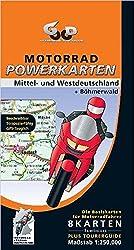 Motorrad Powerkarten.    Mittel- und Westdeutschland plus Böhmerwald, 8 Blätter laminiert