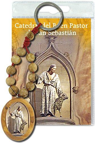 Llavero Catedral Buen Pastor (San Sebastián) con decenario en madera de olivo y oración en español