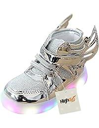 Sunching Zapatos de Prewalk LED de los muchachos de los muchach Lingt encima de la zapatilla de deporte rosado tamaño 21 AkMOtV