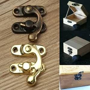 Yibuy Bijoux 4/Pcs Antique Wood Box Loquet D/éfinit Case Verrouillage pour Meuble Decro Bronze