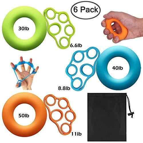 DaKuan - Juego de 6 anillos de agarre de mano con 3 niveles y bandas de resistencia para los dedos con bolsa de transporte para ejercicios de antebrazo / guitarra, fortalecimiento de los dedos