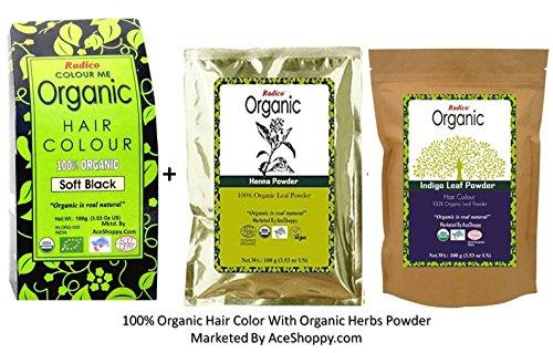 Radico Organic Soft Black Hair Color + Organic Heena + Indigo Leaf Powder  available at amazon for Rs.800
