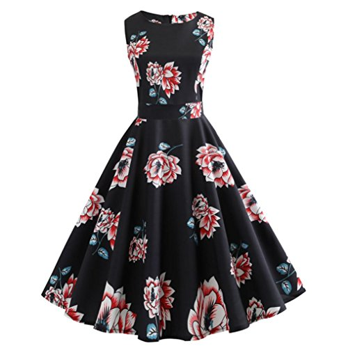Zegeey Women Summer Autumn Fashion Women Vintage Printing Bodycon Sleeveless Casual Evening Party Prom Swing Dress