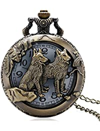 MESE London Collar Reloj De Bolsillo Lobos Colgante Vintage De Bronce - Elegante Caja De Regalo