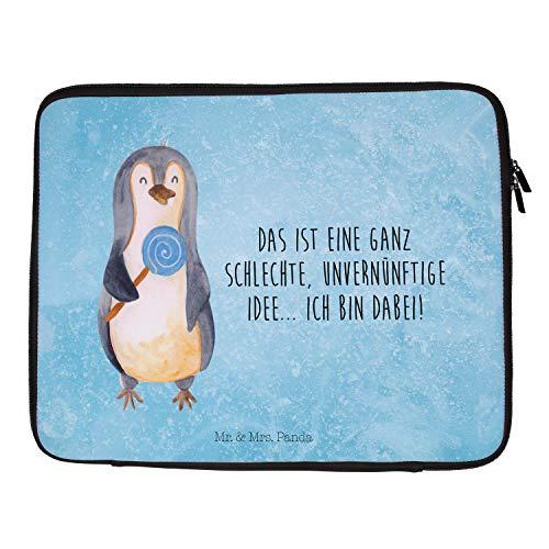 Mr. & Mrs. Panda Laptop, Tasche, 33 x 42 Notebook Tasche Pinguin Lolli mit Spruch - Farbe Eisblau