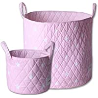 Minene Large & SMall Fabric Storage Basket Set , Organiser, Nursery, Kids,Star Storage Pink&White Stars preiswert