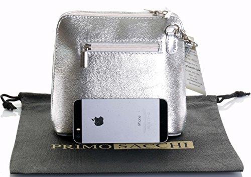 In pelle italiana, Small/Micro croce corpo borsa o borsetta borsa a tracolla.Include una custodia protettiva di marca. Argento