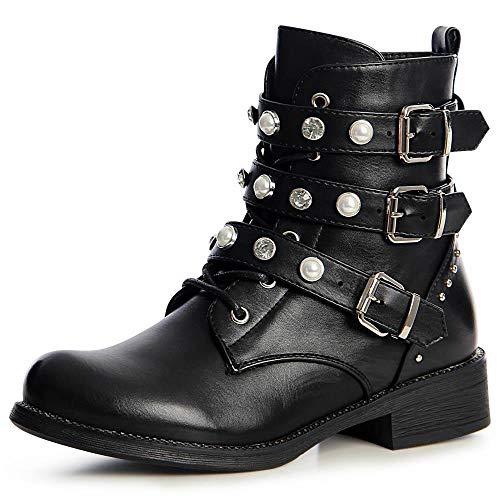 topschuhe24 1499 Damen Stiefeletten Biker Worker Boots Nieten Zierperlen, Farbe:Schwarz, Größe:38 EU