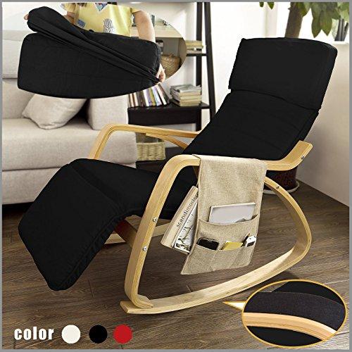 SoBuy® Neu-Schaukelstuhl (verstellbares Fussteil),Relaxstuhl,Relaxsessel mit Tasche,FST16-SCH (Schwarz)