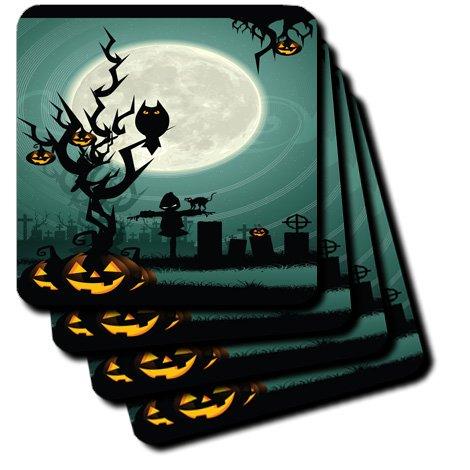 3dRose CST 153147_ 4A SCARY Halloween Szene mit einem Kürbis, Haunted Baum unter einem Big weiß moon-ceramic Fliesen Untersetzer, Set von 8 (Halloween-bäume Scary)
