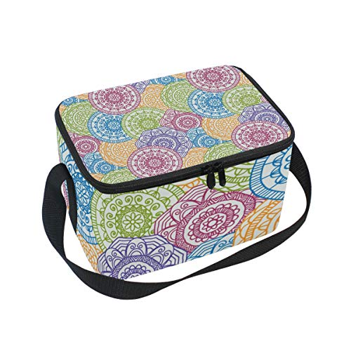SKYDA Lunchpaket Box Insulated Lunchpaket Bag Large Cooler Roma Floral Round Tote Bag for Men, Women, Girls, Boys -