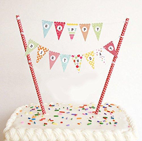 Happy Birthday Bunt Girlande Kuchendekoration Cake Toppers Geburtstagskuchen Deko