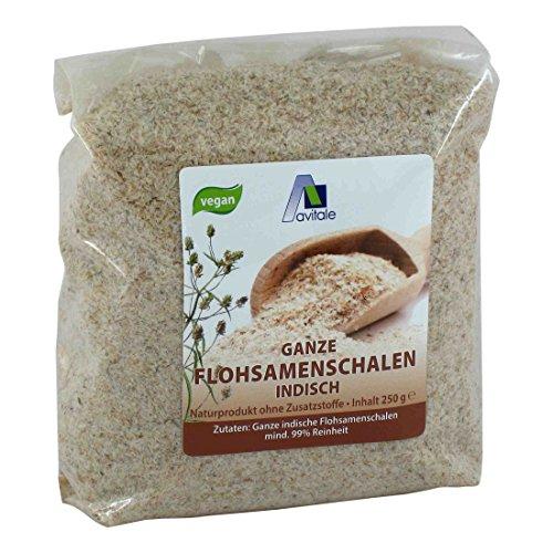 Avitale Ganze Flohsamenschalen aus Indien, 99 % Reinheit, reich an Ballaststoffen - Geprüfte Lebensmittel-Qualität aus Indien - Verpackt in Deutschland, 1er Pack (1 x 250 g)