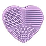 Contever 1 Pcs Linda Silicona Guante de Lavado en forma de corazón Cepillo de limpieza de Brochas de Maquillaje Pincel Junta Scrubber Cosmética Limpio - Púrpura