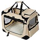 SONGMICS Hundebox Transportbox Auto Hundetransportbox faltbar Katzenbox Oxford Gewebe beige XXXL 102 x 69 x 69 cm PDC10W