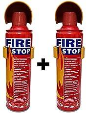 HappeStop Aluminum Flame Retardant Fuild Portable Fire Extinguisher,500ml, Red(Set of 2)