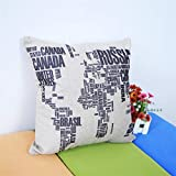 Wall Sticker Creativo Nero Words World Map Throw Pillow Case Home Office Decalcomania Regalo di Nozze Copertura del Cuscino Libro di Moda Negozio Decalcomanie Murale Art