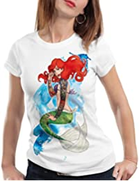 style3 Ariel Tatouage T-Shirt Femme Sirène biker tatouée rock petite