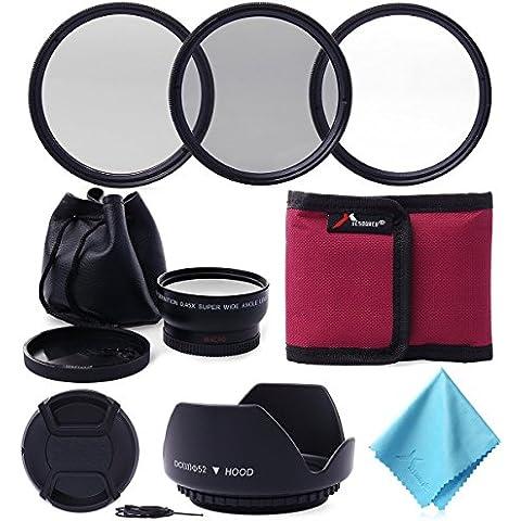XCSOURCE® 52MM 0.45x Lente Gran Angular + UV CPL ND4 Filtro Kit Conjunto para Nikon D3100 D3200