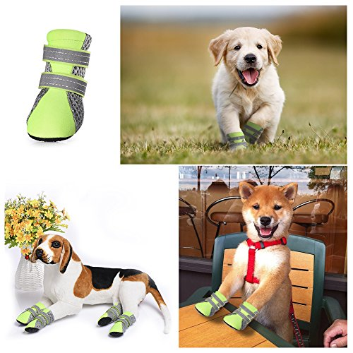 petacc 4 er hund schuhe luftig hunde stiefel anti rutsch haustier schuhe pfotenschutz f r. Black Bedroom Furniture Sets. Home Design Ideas