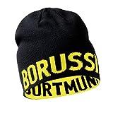Borussia Dortmund BVB Wendemütze, Schwarz/Gelb, Schriftzug, Mütze Beidseitig Tragbar, für Erwachsene, Baumwolle/Polyacryl One Size