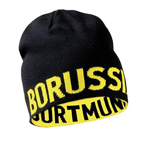 BVB Wendemütze, Schwarz/Gelb, Borussia Dortmund Schriftzug, Mütze beidseitig tragbar, für Erwachsene, Baumwolle/Polyacryl one size