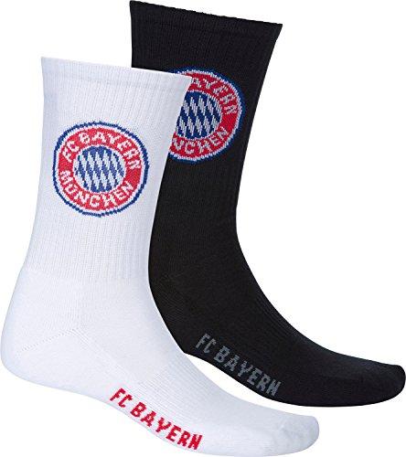 FC Bayern Socken 2er-Pack schwarz/weiß Größe 39 - 42