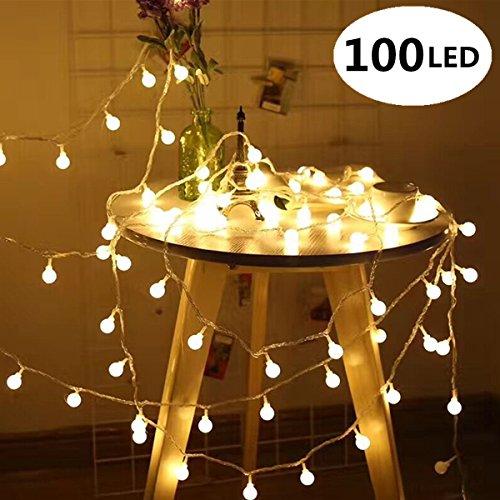 Lichterkette 10M 100er LED Lichterkette Kupferdraht Warmweiß mit Netzteil XAGOO für Outdoor, Innenbeleuchtung, Garten, Hochzeit, Party, Weihnacht und Haus Deko