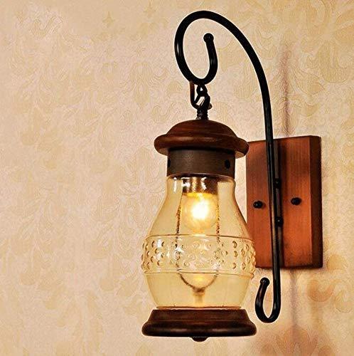 Nachtlicht Wandleuchte Led Lampe Japanischen Stil Mittelmeer Holz Glas Wandleuchte Tür Eingang Tür Licht Banketthalle Eisen Wand Hängen Lampe Terrasse Lampe E27 für Küche Schlafzimmer Wohnzimmer, Qi - Glas-türen-licht