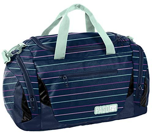 Sporttasche Reisetasche Mädchen Jungen Damen Sauna Tasche Sport Schul Weekender (Blau gestreift)