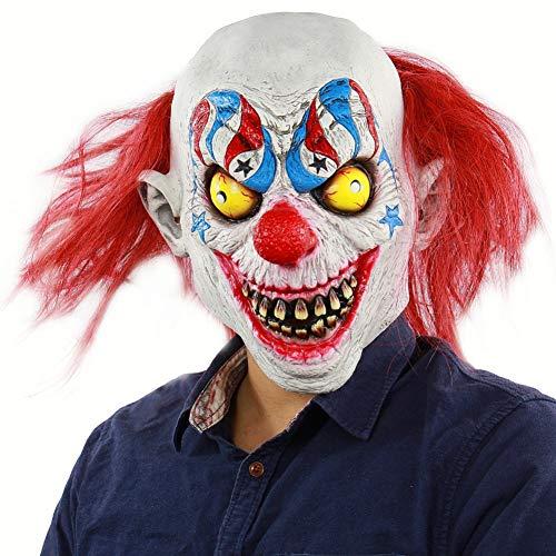 Kostüm Circus Joker - FLTVSN Halloween-Maske Scary Demon Clown Maske mit roten Haaren The Evil Circus Killer Clown Latex Erwachsenen Halloween Kostüm Masken Horror Joker Maske