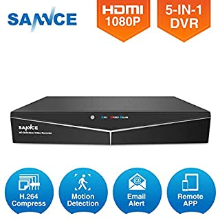 SANNCE 4CH 720P HD Standalone CCTV DVR Video Recorder for Indoor/Outdoor 960H AHD720P Security Camera, Email Alert, Motion Detect, Remote Viewing, Home Security Camera System, NO HDD