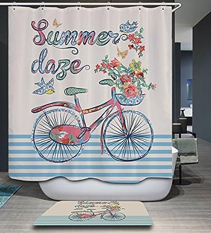 Kisy Summer Style étanche Mildew-resistant Rideau de douche de bain pour fille de vélo avec papillon Fleur Polyester salle de bain Rideau de douche (180cm ×