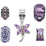Silver Purple Charm Bead Set Of 5 For Pandora Troll Chamilia Style Charm Bracelets By Truly Charming